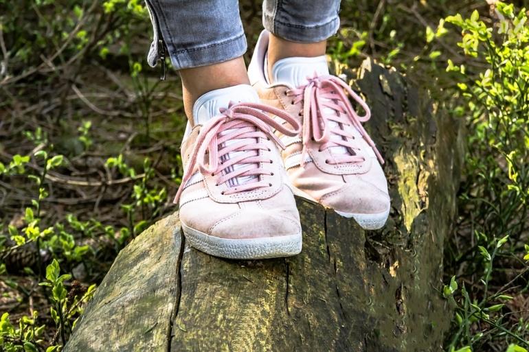 Baskets roses sur un tronc d'arbre