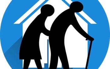 Dessin de personnes âgées et d'une maison de retraite.