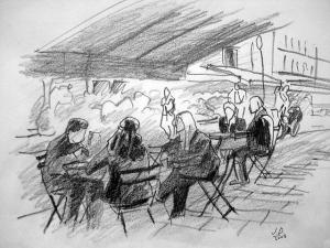 dessin terrasse de café