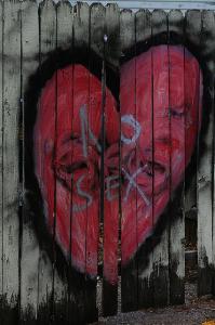 """Un coeur peint sur du bois, dans lequel il est écrit """"No sex""""."""