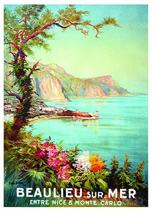 Affiche vintage représentant Beaulieu-sur-mer.
